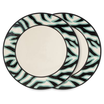 Fitz & Floyd Cockatoo 14-Inch Zebra Striped Platters in Black (Set of 2)