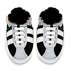 MomoBaby Soft Sole Leather Sneakers in Striped Black