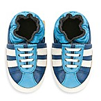 MomoBaby Soft Sole Leather Sneakers in Striped Blue