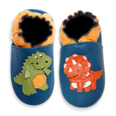 MomoBaby Soft Sole Leather Sneakers in Dinosaur Blue