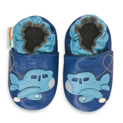 MomoBaby Soft Sole Leather Sneakers in Airplane Blue