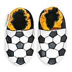 MomoBaby Soft Sole Leather Sneakers in Black/White Soccer