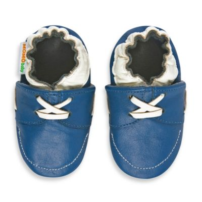 MomoBaby Size 18 - 24 Months Soft Sole Leather Sneakers in Blue Loafer