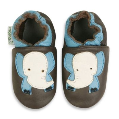 MomoBaby Size 6 - 12 Months Soft Sole Leather Sneakers in Elephant Light Blue Taupe