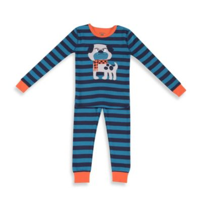 Petit Lem™ Bulldog 2-Piece Long Pajamas in Blue Stripe