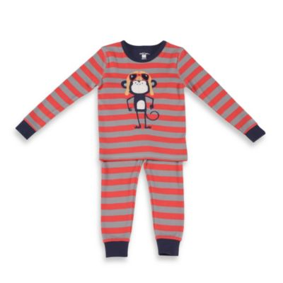 Petit Lem™ Aviator Monkey 2-Piece Long Pajamas in Red Stripe