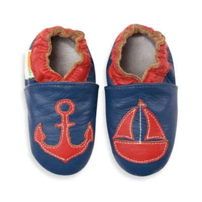 MomoBaby Size 6 - 12 Months Soft Sole Leather Sneakers in Nautical Navy
