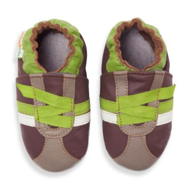 MomoBaby Size 6-12 Months Z-Strap Soft Sole Leather Shoes in Brown