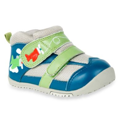 MomoBaby Size 4 Flying High Leather Sneakers in Navy