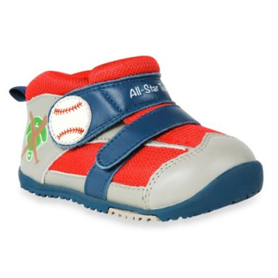 MomoBaby Size 4 Home Run Leather Sneakers in Grey