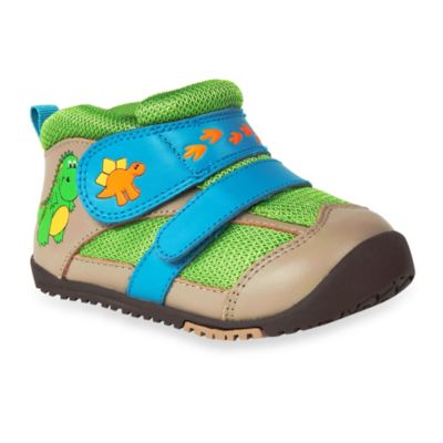 MomoBaby Size 4 Toddler Dinosaur Leather Sneakers in Tan