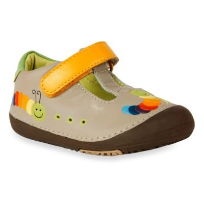 MomoBaby Size 4 Toddler Caterpillar Leather T-Strap Shoes in Tan