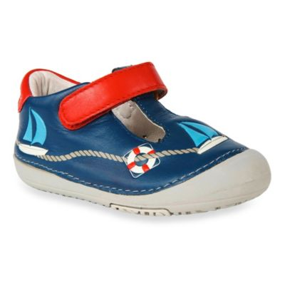 MomoBaby Size 4.5 Toddler Sailor Leather T-Strap Shoes in Navy