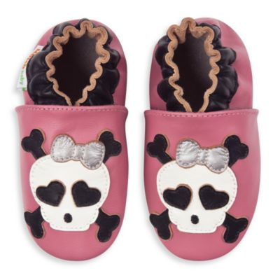 MomoBaby Size 0-6 Months Skull Soft Sole Leather Shoes in Pink