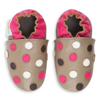 MomoBaby Polka Dot Soft Sole Leather Sneakers in Taupe