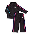 Adidas® Track Set in Black/Multi-Color Stripe
