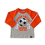 Adidas® Long Sleeve Raglan Tee in Grey/Orange