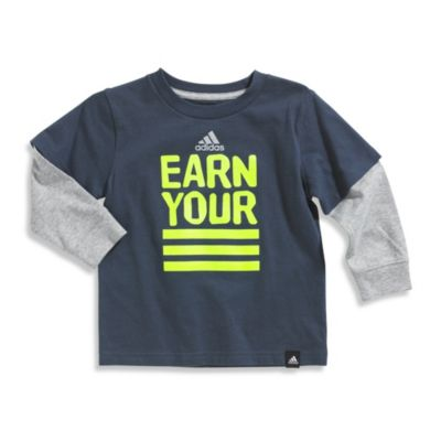 Boy Athletic > Adidas® Earn Your Stripes Long Sleeve Tee Shirt in Grey/Lime Green