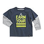 Adidas® Earn Your Stripes Long Sleeve Tee Shirt in Grey/Lime Green