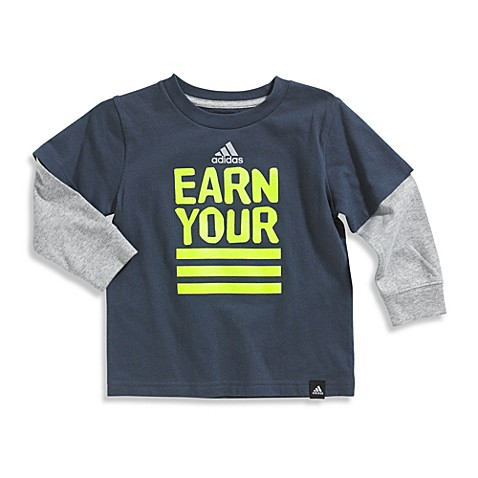 Boys' Athletic > Adidas® Earn Your Stripes Long Sleeve Tee Shirt in Grey/Lime Green