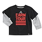Adidas® Earn Your Stripes Long Sleeve Tee Shirt in Black/Red