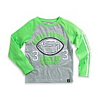 Adidas® Long Sleeve Raglan Football Tee in Grey/Green