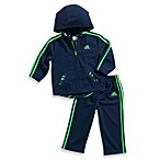 Adidas® Hooded Tracksuit in Navy/Green Mesh