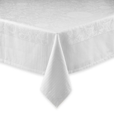 Garnier-Thiebaut Appoline 69-Inch x 69-Inch Damask Tablecloth in White