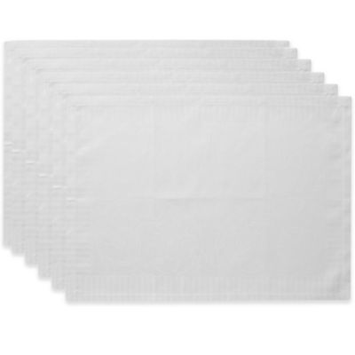 Garnier-Thiebaut Appoline 21-Inch x 15-Inch Damask Placemats in White (Set of 4)