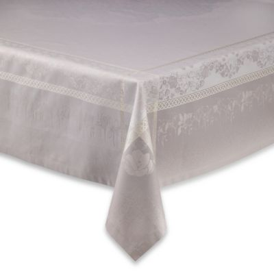 Garnier-Thiebaut Perce-Neige 69-Inch x 69-Inch Damask Tablecloth in Perle