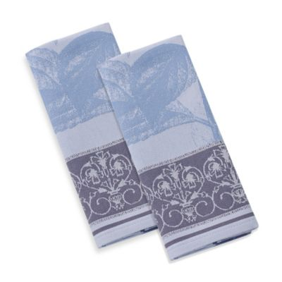 Garnier-Thiebaut Hortensia Bleu 22-Inch x 30-Inch Kitchen Towels (Set of 4)