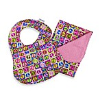 C.R. Gibson iotababy! Newborn Bib & Burp Set in Dolly Lama