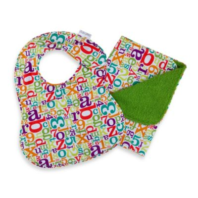 C.R. Gibson iotababy! Newborn Bib & Burp Set in Alphabet Soup