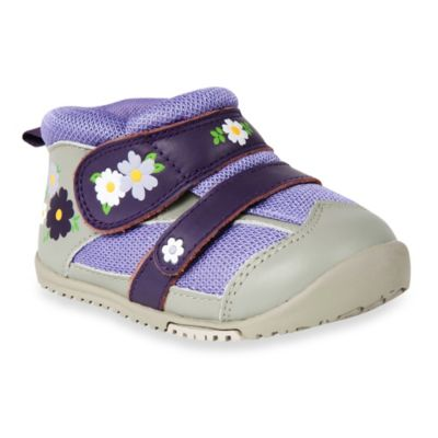 MomoBaby Size 4.5 Toddler Field of Flowers Leather Sneakers in Purple