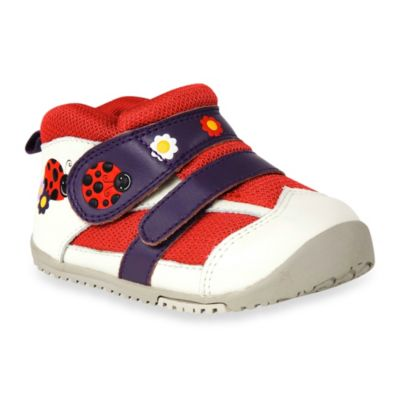 MomoBaby Toddler Ladybug and Daisy Leather Sneakers in White
