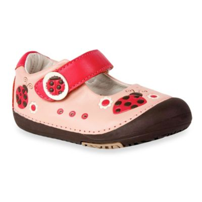 MomoBaby Size 4.5 Toddler Ladybug Leather Mary Jane Shoes in Pink