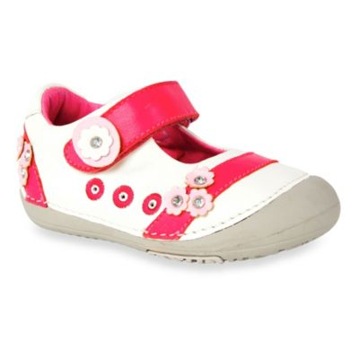 MomoBaby Toddler Mary Jane Leather Shoes in White Daisy