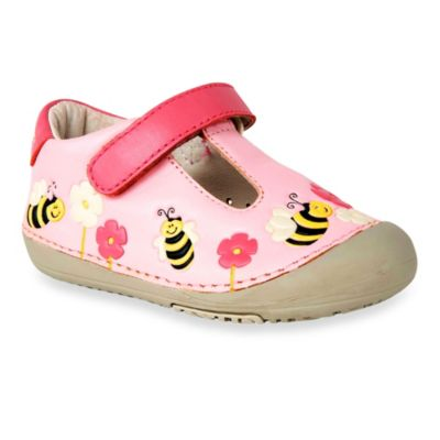 MomoBaby Size 4.5 Toddler Bumble Bees Leather T-Strap Shoes in Pink