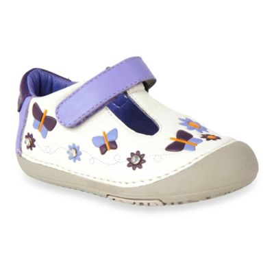 MomoBaby Toddler Butterflies Leather T-Strap Shoes in White