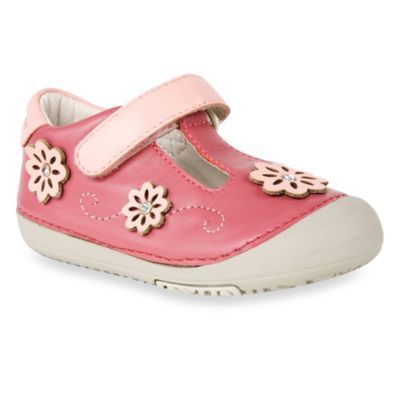 MomoBaby Size 5.5 Toddler Glitzy Flowers Leather T-Strap Shoes in Pink