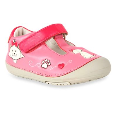 MomoBaby Size 6 Toddler Kitty Cat Leather T-Strap Shoes in Pink