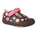 MomoBaby Toddler Polks Dots Leather T-Strap Shoes in Brown