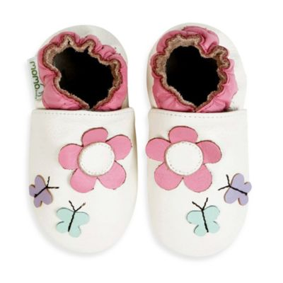 MomoBaby Soft Sole Leather Daisy & Butterfly Shoes in Light in White