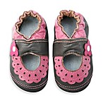 MomoBaby Lace & Flower Soft Sole Leather Shoes in Brown