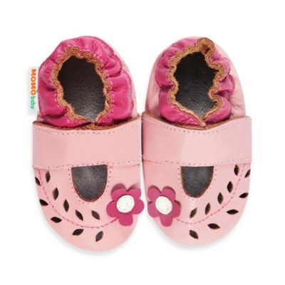 MomoBaby Size 12-18 Months Soft Sole Cut Out Flower Leather Mary Janes in Pink