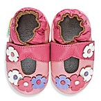 MomoBaby Soft Sole Leather Flower Mary Janes in Pink