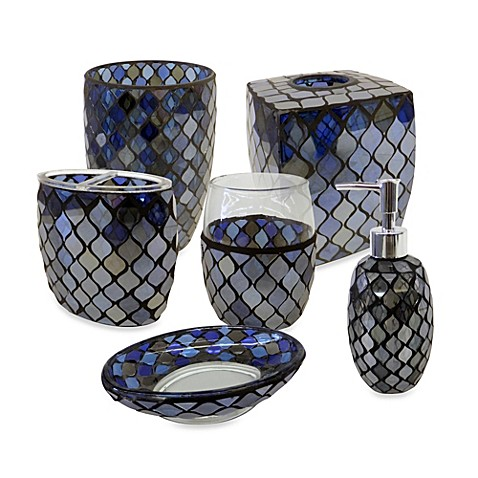 Azure mosaic glass bathroom accessories bed bath beyond for Mosaic bath accessories