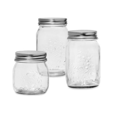 Home Essentials Clear Glass Preserve Jar with Metal Lid