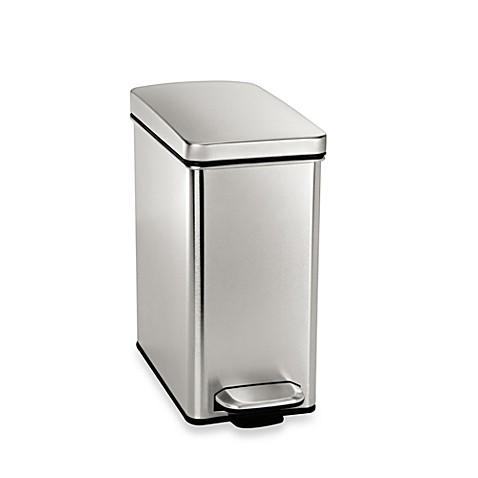 simplehuman 10 liter profile step wastebasket www bedbathandbeyond