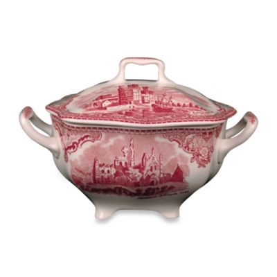 Johnson Brothers Old Britian Castles Sugar Bowl with Lid in Pink